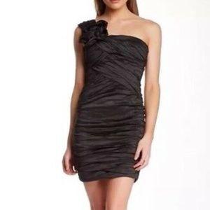 BCBGMAXAZRIA Anett One-shoulder Black Mini Dress 4